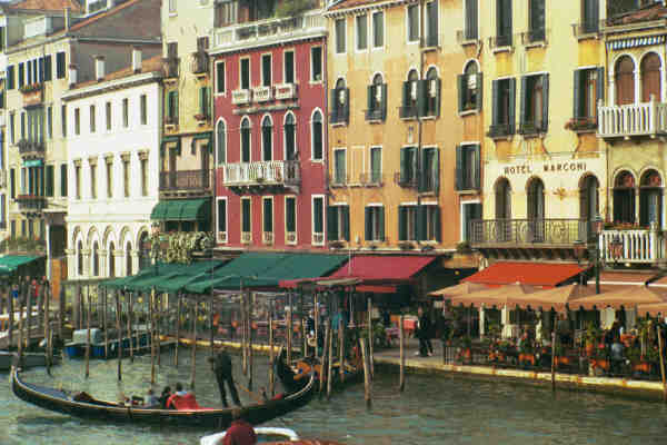 Gondolas in Venice; Actual size=130 pixels wide